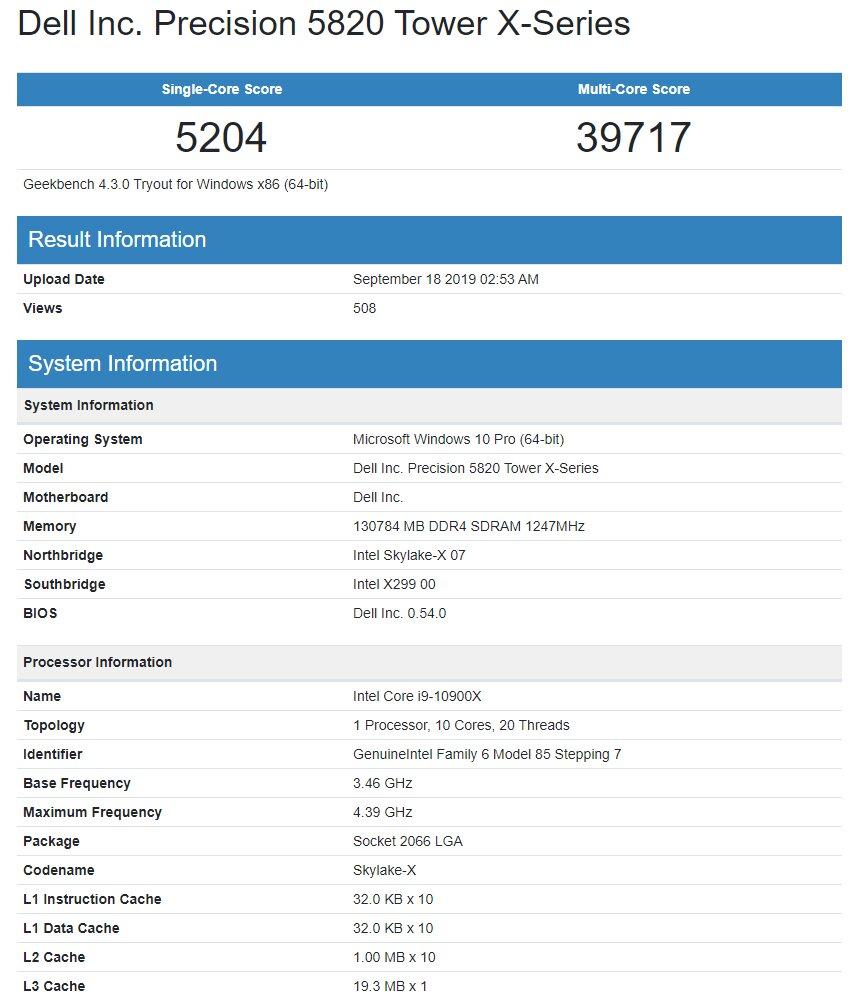 Core i9-10900X mit zehn Kernen im Geekbench