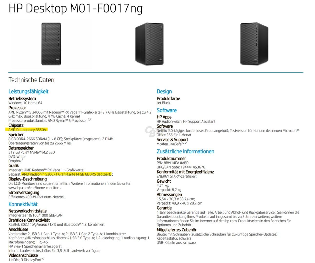 HP-Desktop-PC mit AMD B550 und Radeon RX 5300XT