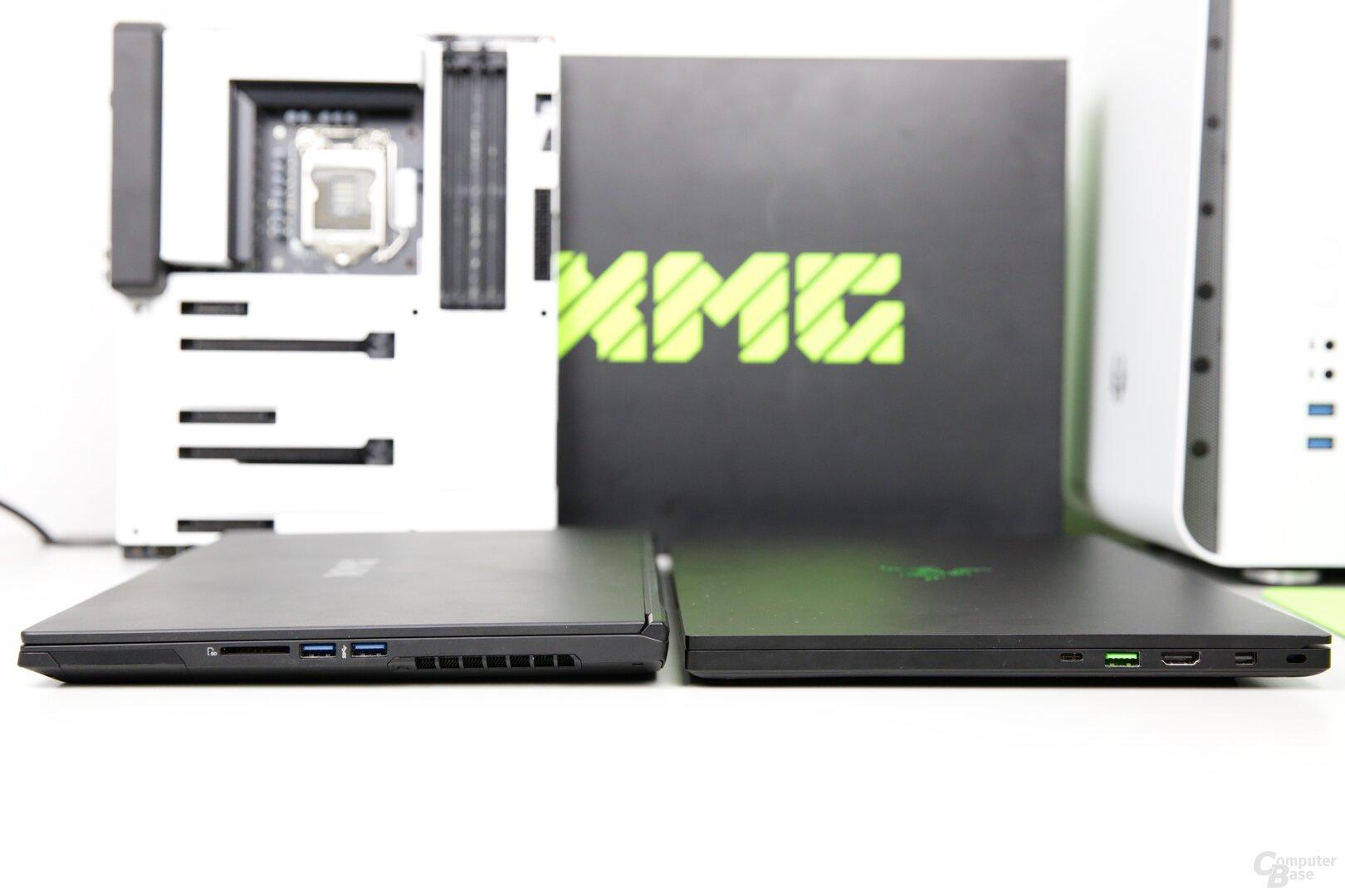 Das XMG Fusion 15 (links) ist aber etwas dicker