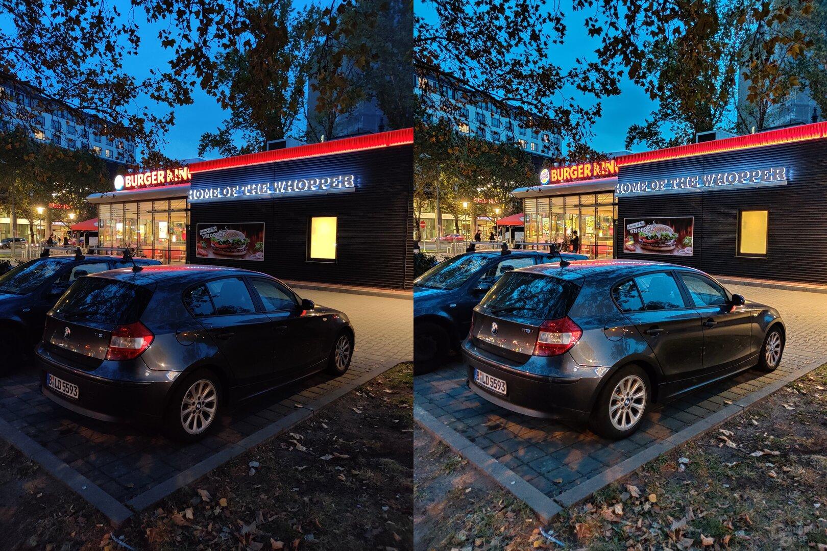 OnePlus 7T mit Nachtmodus (rechts)