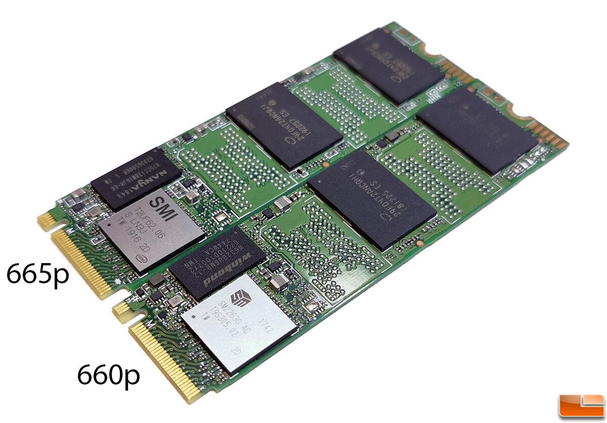 Intel SSD 660p und SSD 665p nebeneinander
