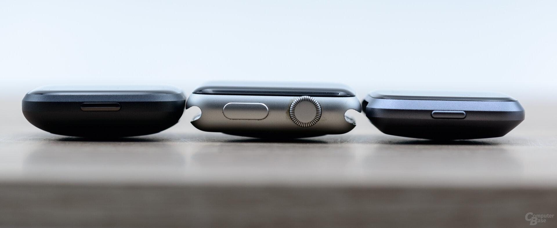 Fitbit Versa 2, Apple Watch 3 und Versa: Höhenvergleich