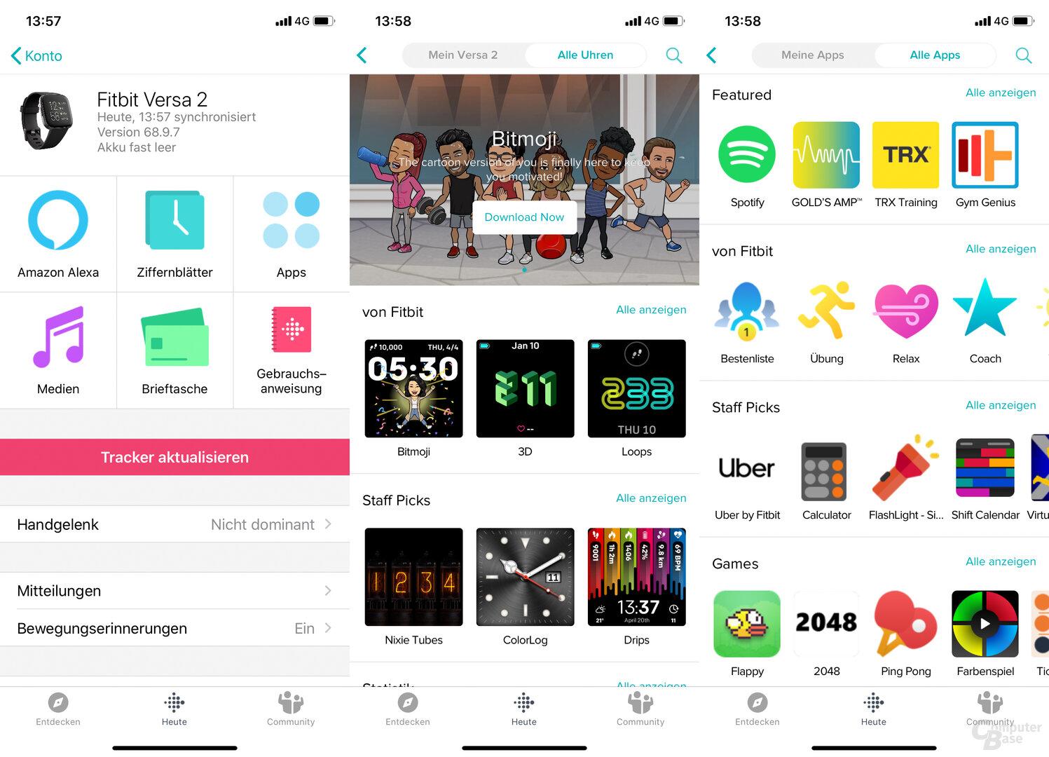 Fitbit App: Smartwatch-Menü