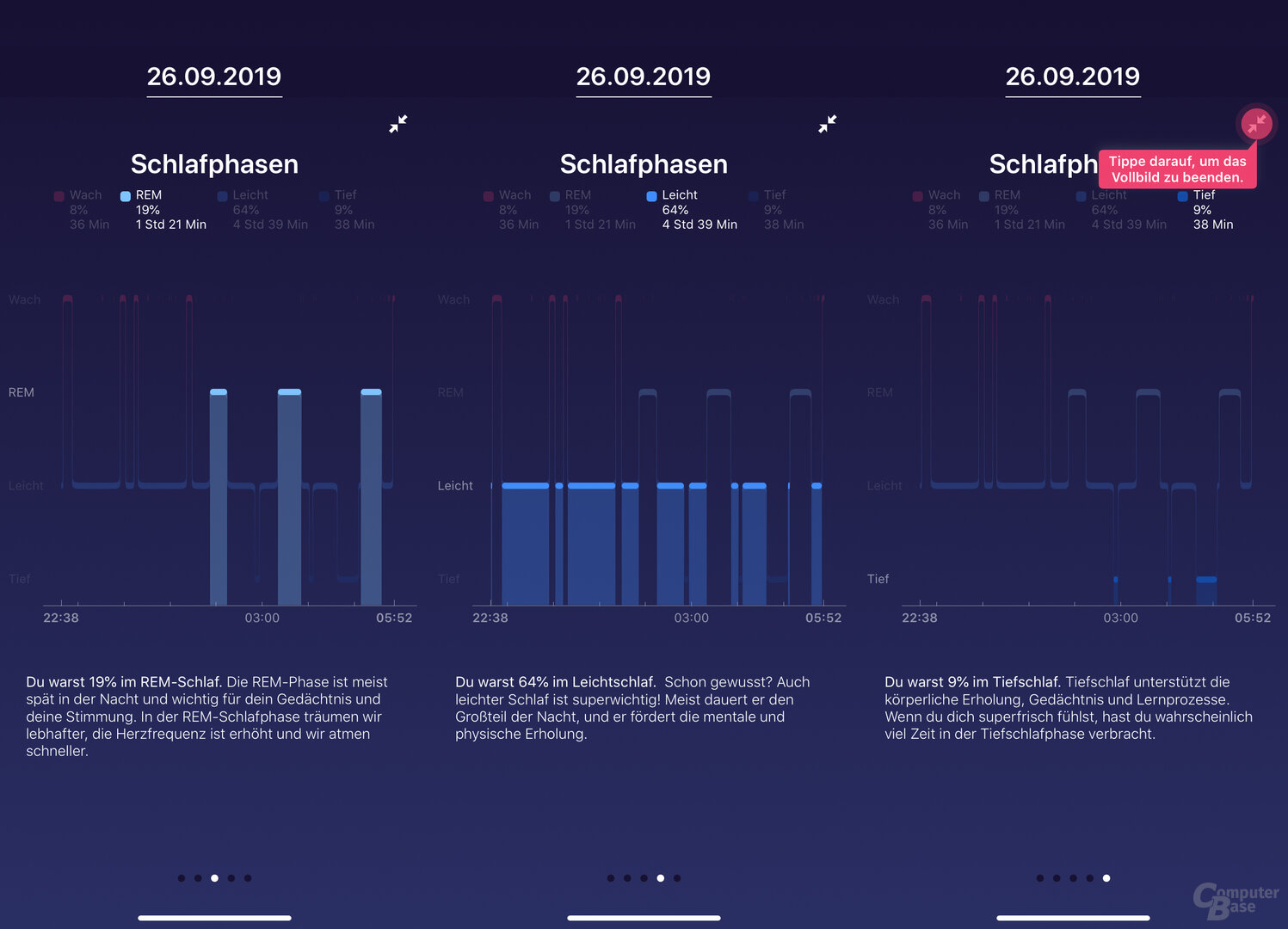 Fitbit App: Schlaf-Tracking