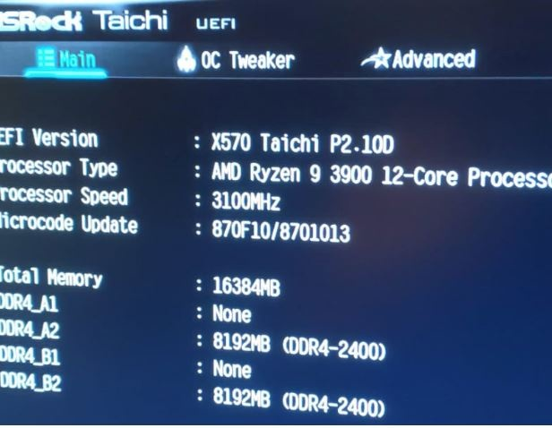 ... und im BIOS des ASRock X570 Taichi