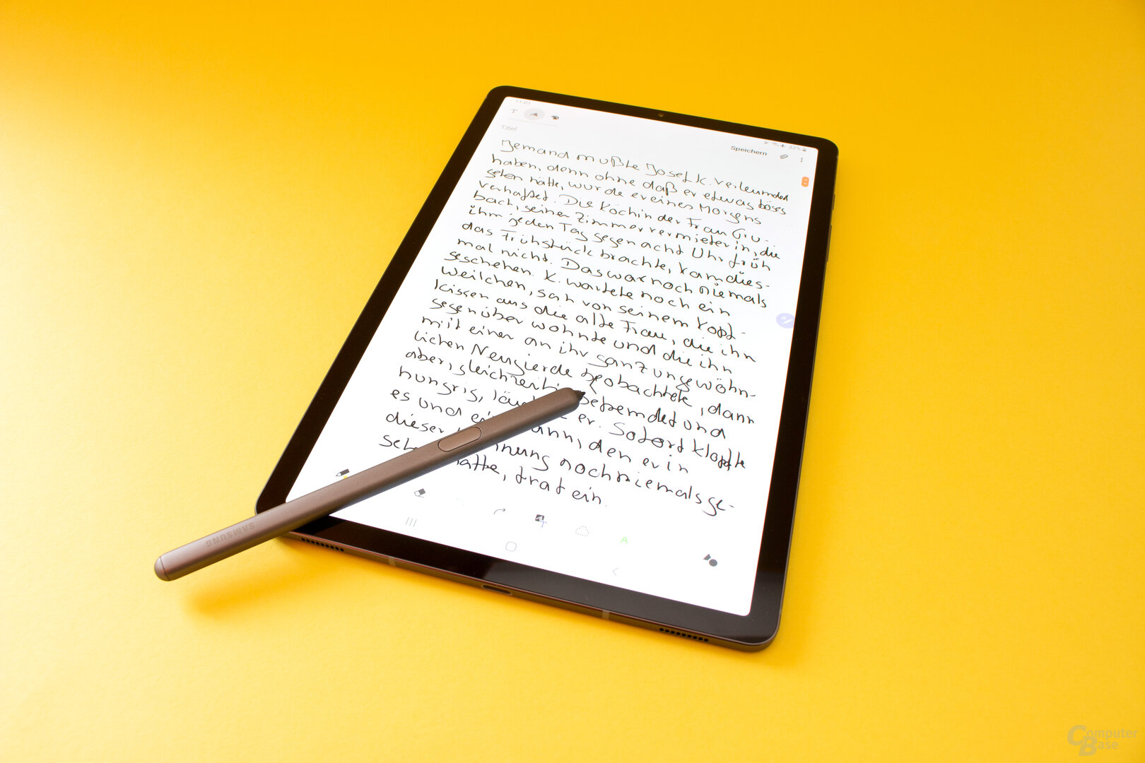 Mit dem neuen S Pen lässt sich auf dem Galaxy Tab S6 gut schreiben