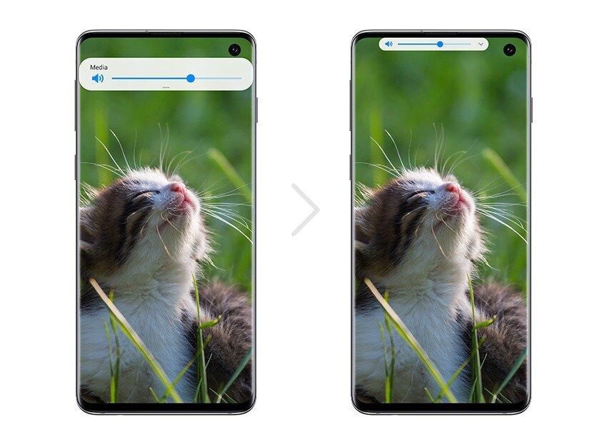 Android 10 mit One UI 2: Kleinere Lautstärkeleiste