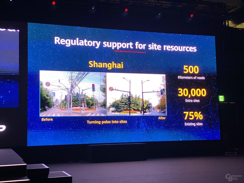 Erfahrungen von Huawei bei Nutzung von Masten in Shanghai