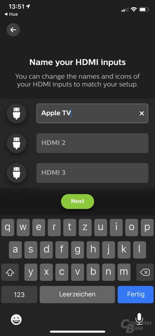 Ersteinrichtung der Philips Hue Play HDMI Sync Box