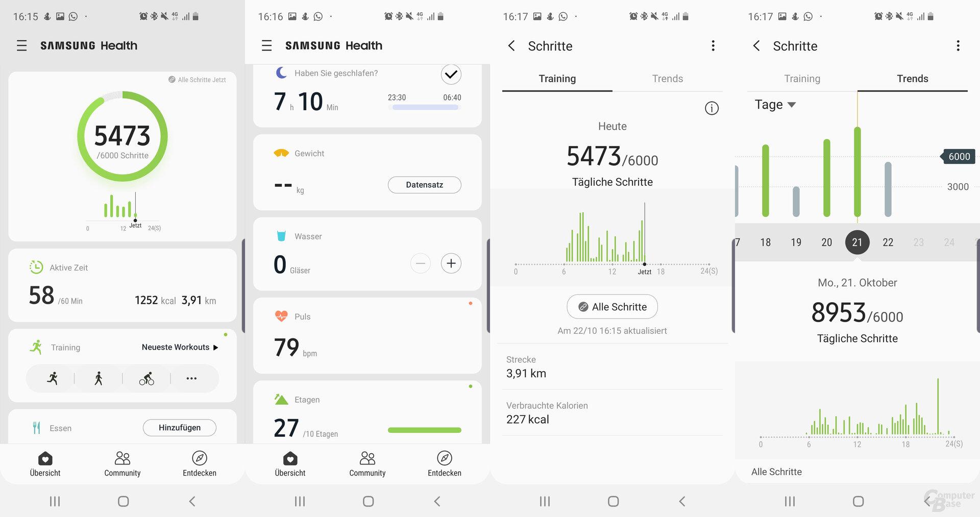 Samsung-Health-App: Übersicht und Schrittanalyse