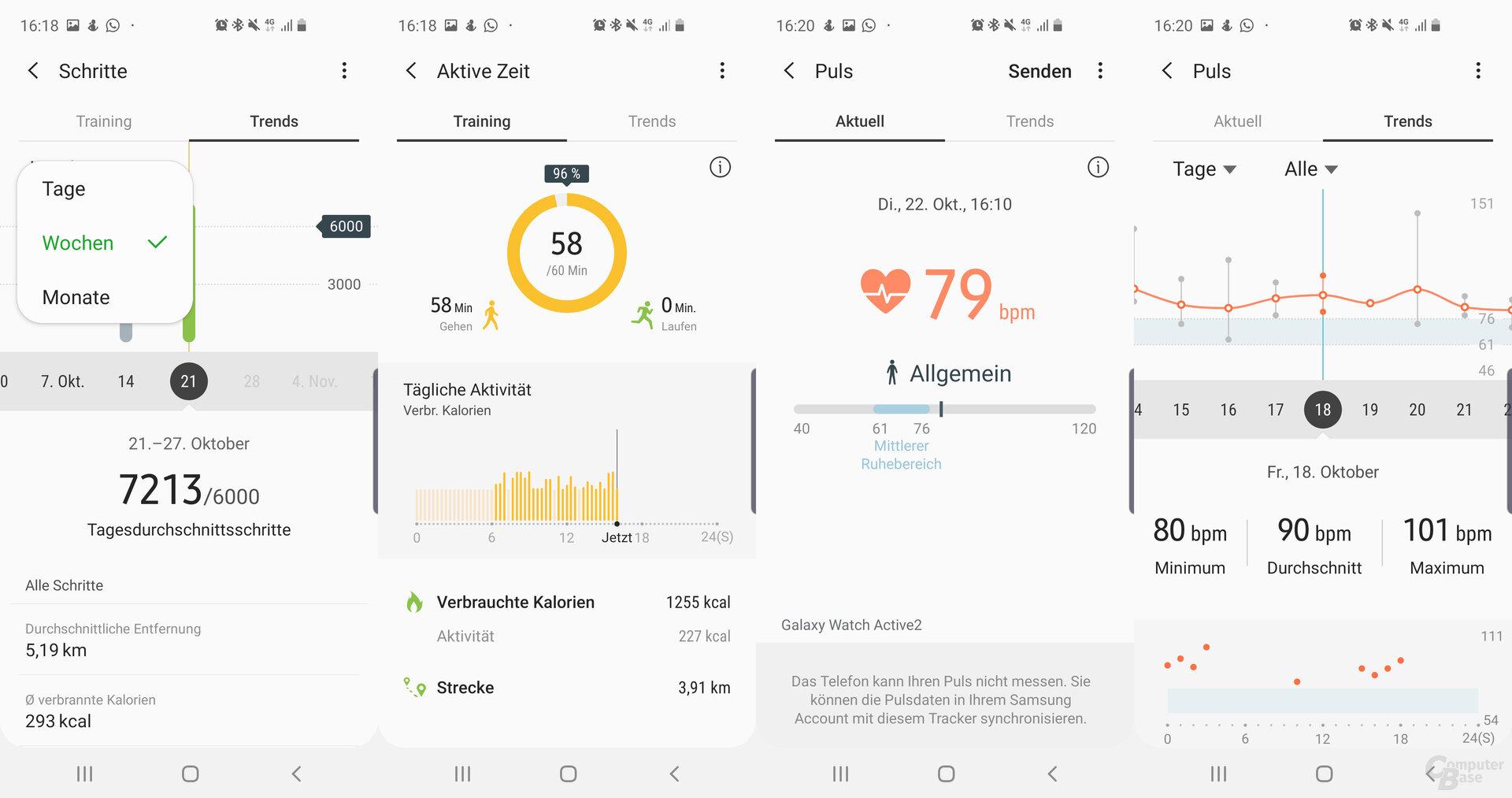 Samsung-Health-App: Vitalanalyse