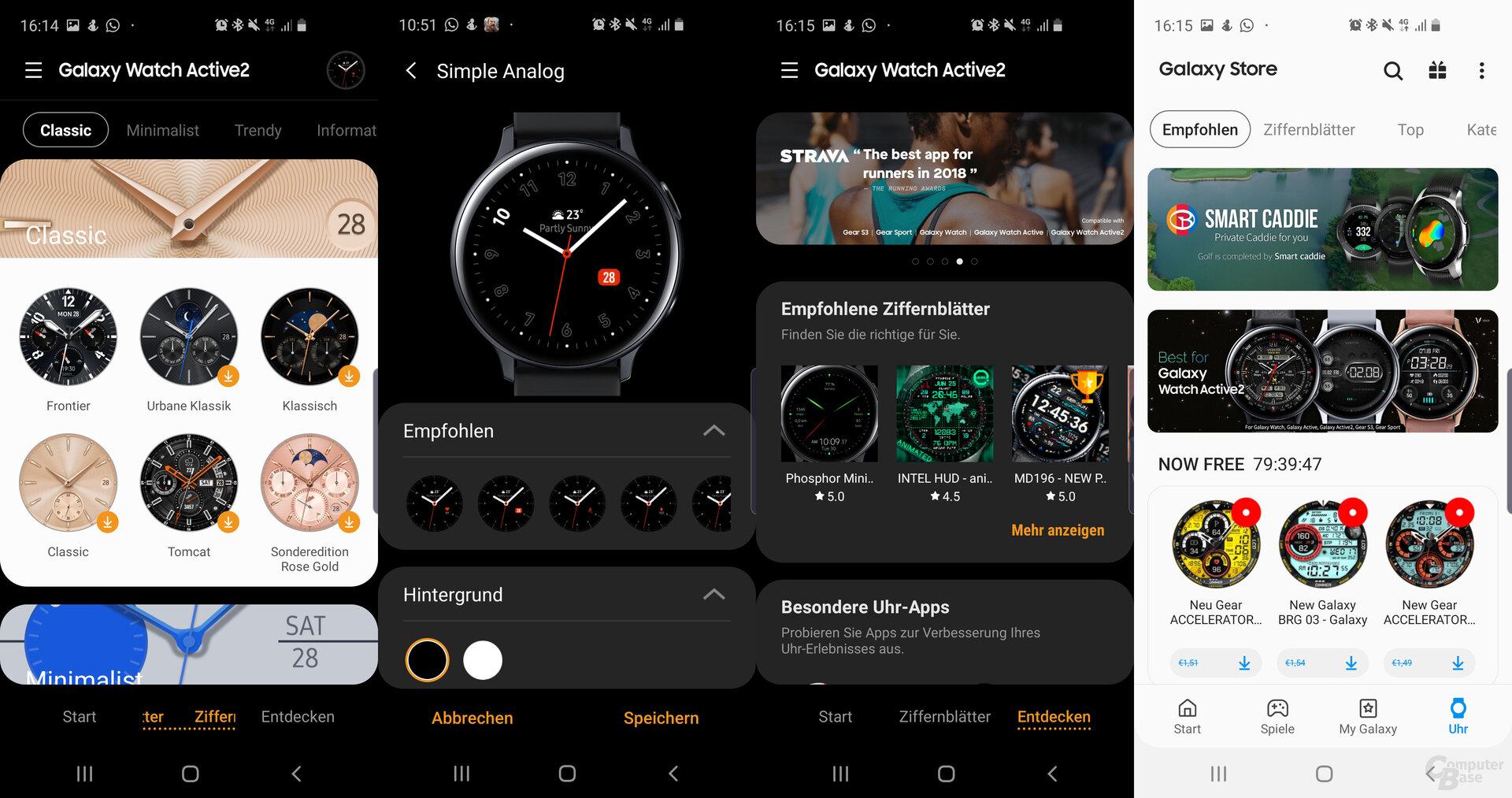 Galaxy-Wearable-App: Ziffernblätter und Apps