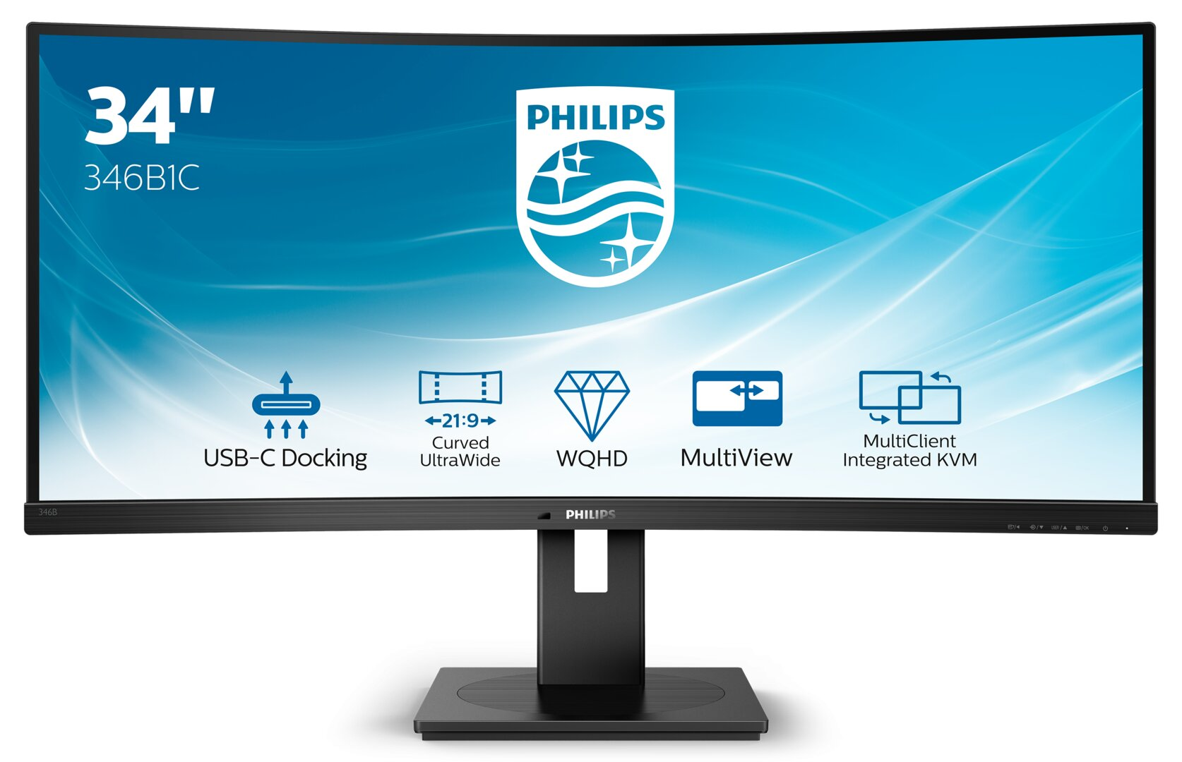 Philips 346B1C: Curved-Monitor mit 100 Hz und USB-C-Dockingstation