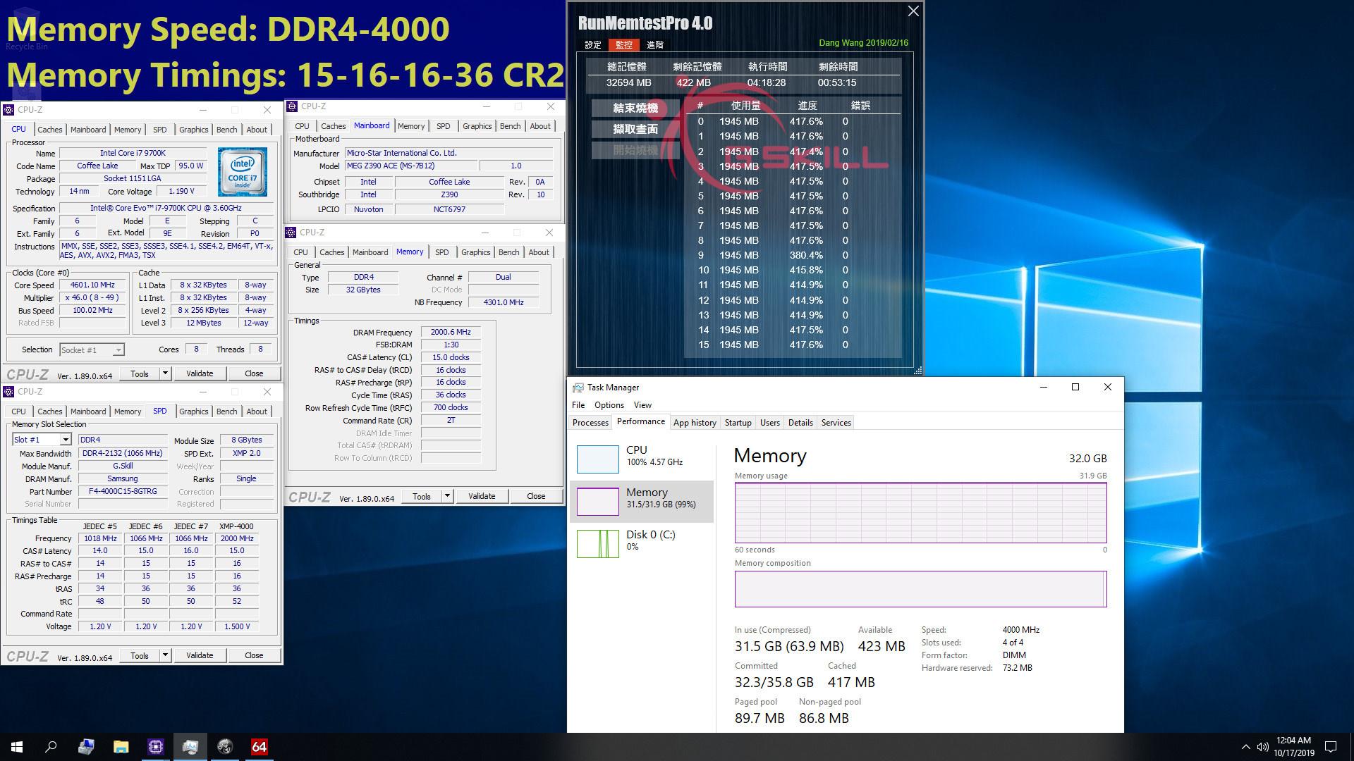 DDR4-4000 CL15-16-16-36 auf der Intel ...