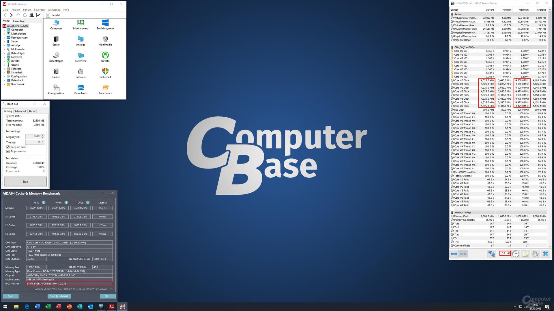 """Das Testsystem mit 4,325 GHz """"All Core""""- und 4,55 GHz """"Single Core""""-Boost unter AGESA 1.0.0.4"""