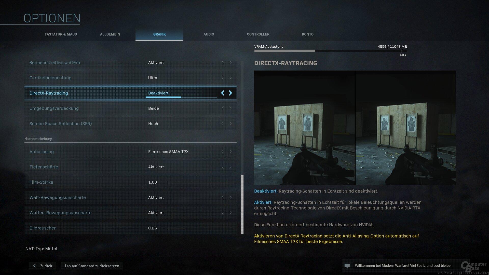 Das Grafikmenü von COD: Modern Warfare
