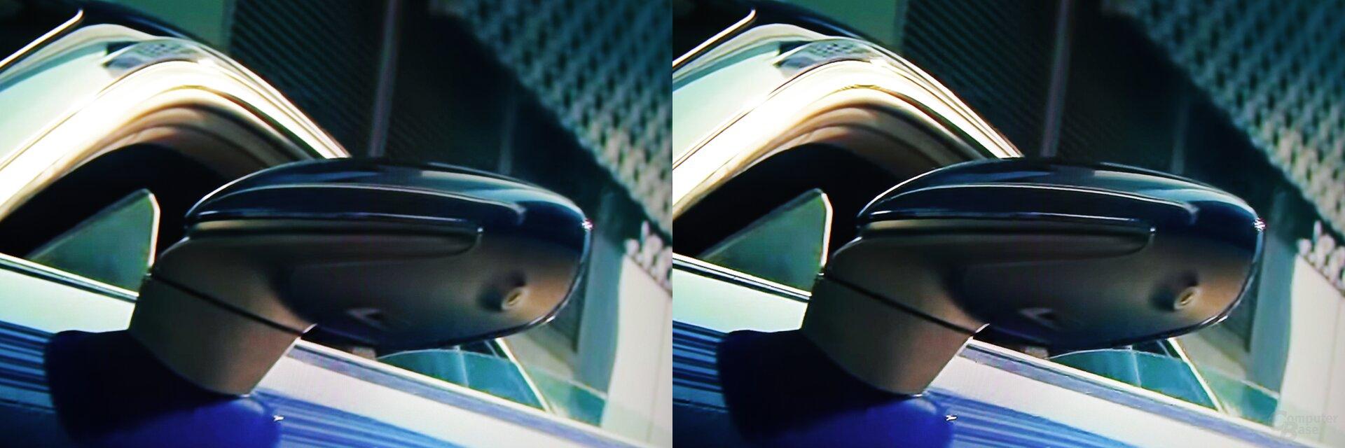 Szene aus Bad Boys for Life Trailer: links Standard, rechts KI-Upscaling