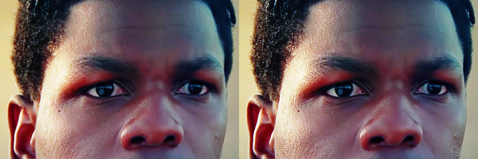 Szene aus Star Wars IX Trailer: links Standard, rechts KI-Upscaling