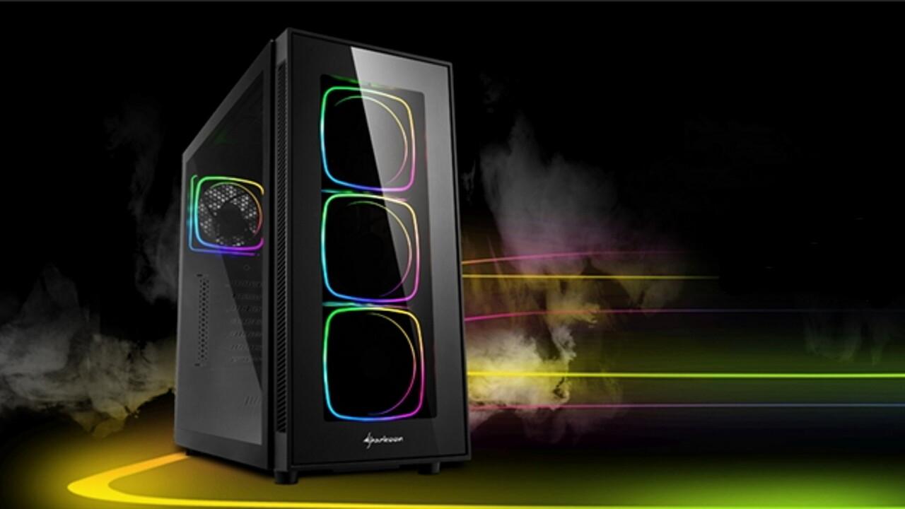 Sharkoon TG6 RGB: Quader-Leuchtstreifen sitzen hinter Glas