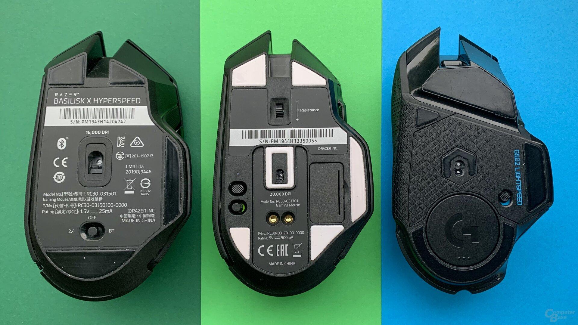 Razer Basilisk X HyperSpeed, Razer Basilisk Ultimate, Logitech G502 Lightspeed