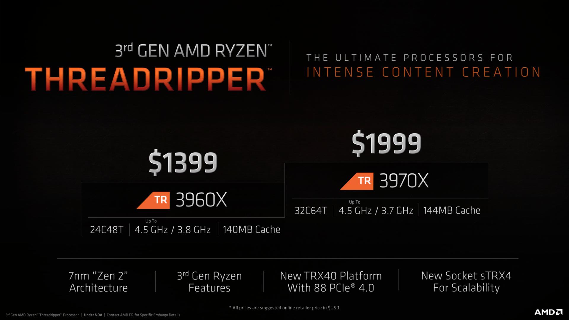 Ryzen Threadripper 3000 ab 1.399 US-Dollar