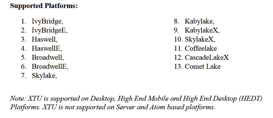 Intel XTU für Comet Lake