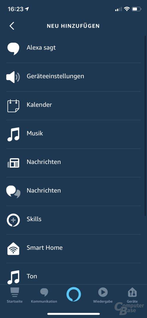 Amazon Echo Flex in der Alexa-App