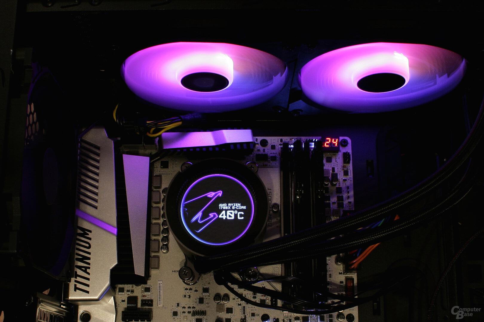 Aorus Liquid Cooler 280: Beleuchtung und Display