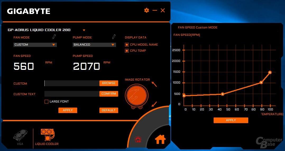 Aorus Liquid Cooler 280: Screenshot der Aorus Engine