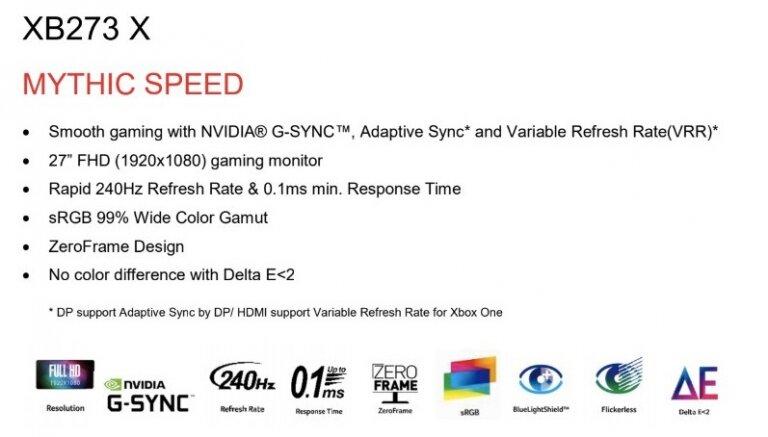 Acer XB273 X mit G-Sync-Modul soll Adaptive-Sync und VRR über HDMI unterstützen