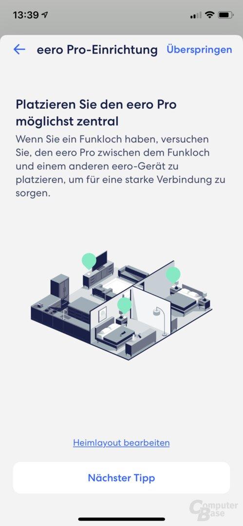 Ersteinrichtung in der eero-App