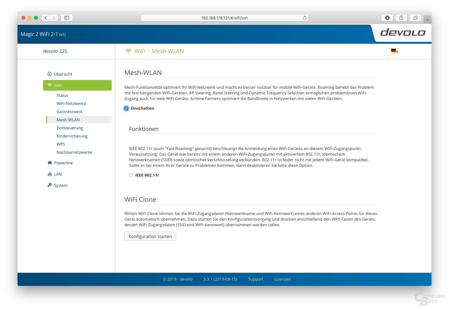 Devolo Web-Oberfläche