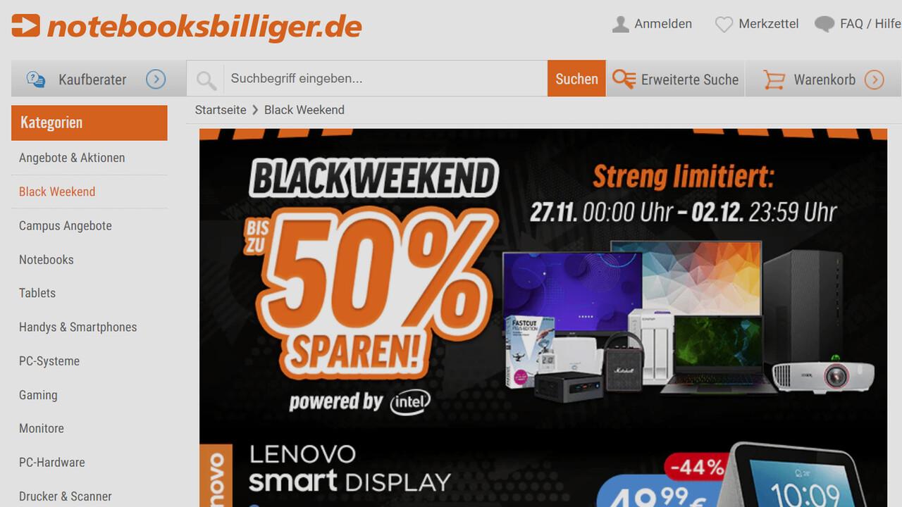 Black Weekend Sale: Bis zu 50 Prozent Rabatt bei Notebooksbilliger.de
