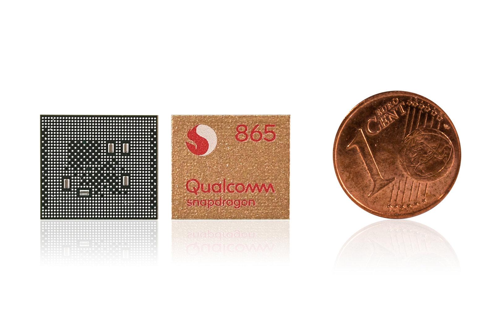 Snapdragon 865 im Vergleich zur 1-Cent-Münze