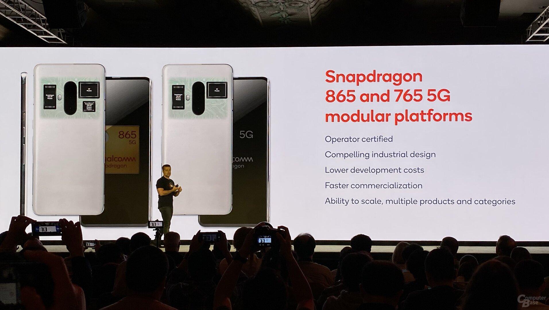 Modularer Aufbau aus AP und Modem für den Snapdragon 865 (l.)