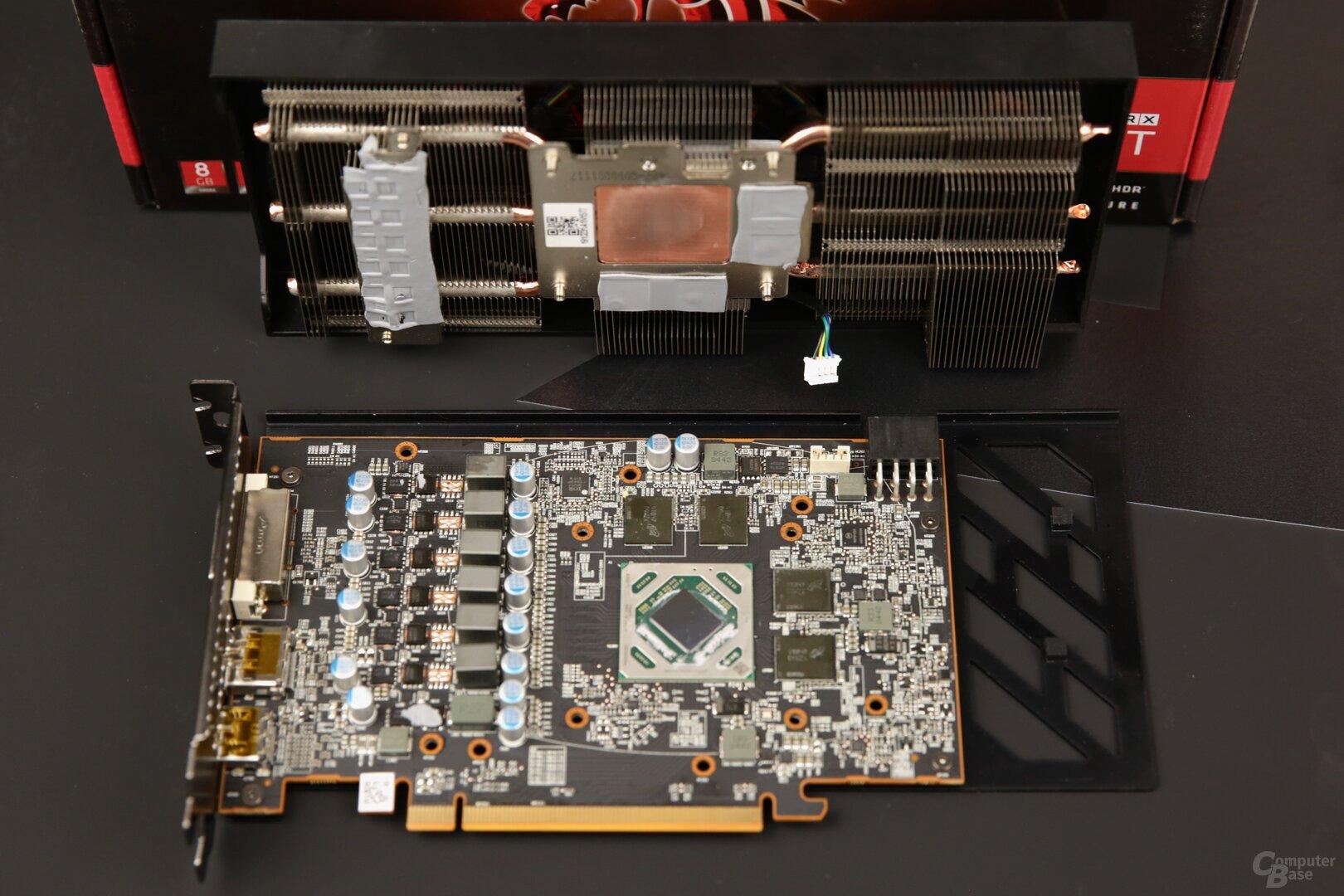 PCB und Kühlsystem der Red Dragon von PowerColor