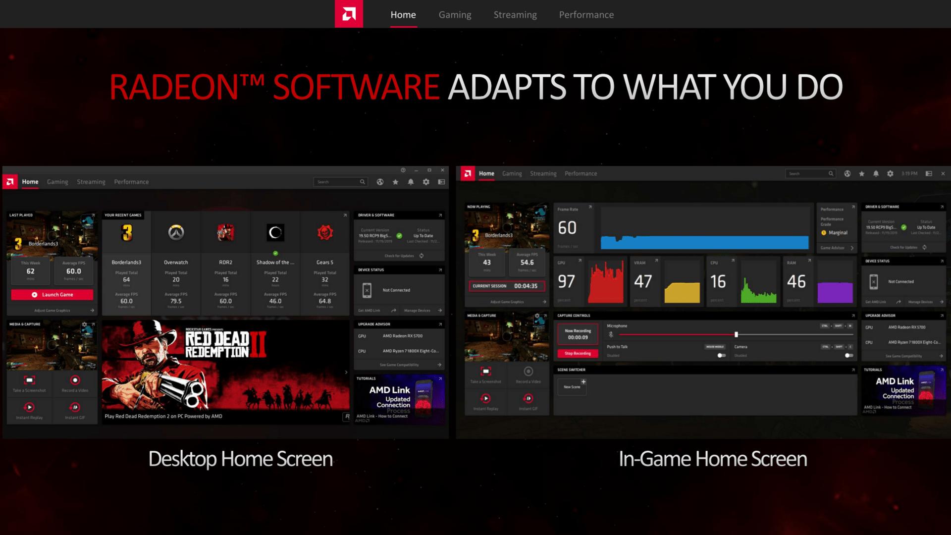 Home Screen Desktop und In-Game