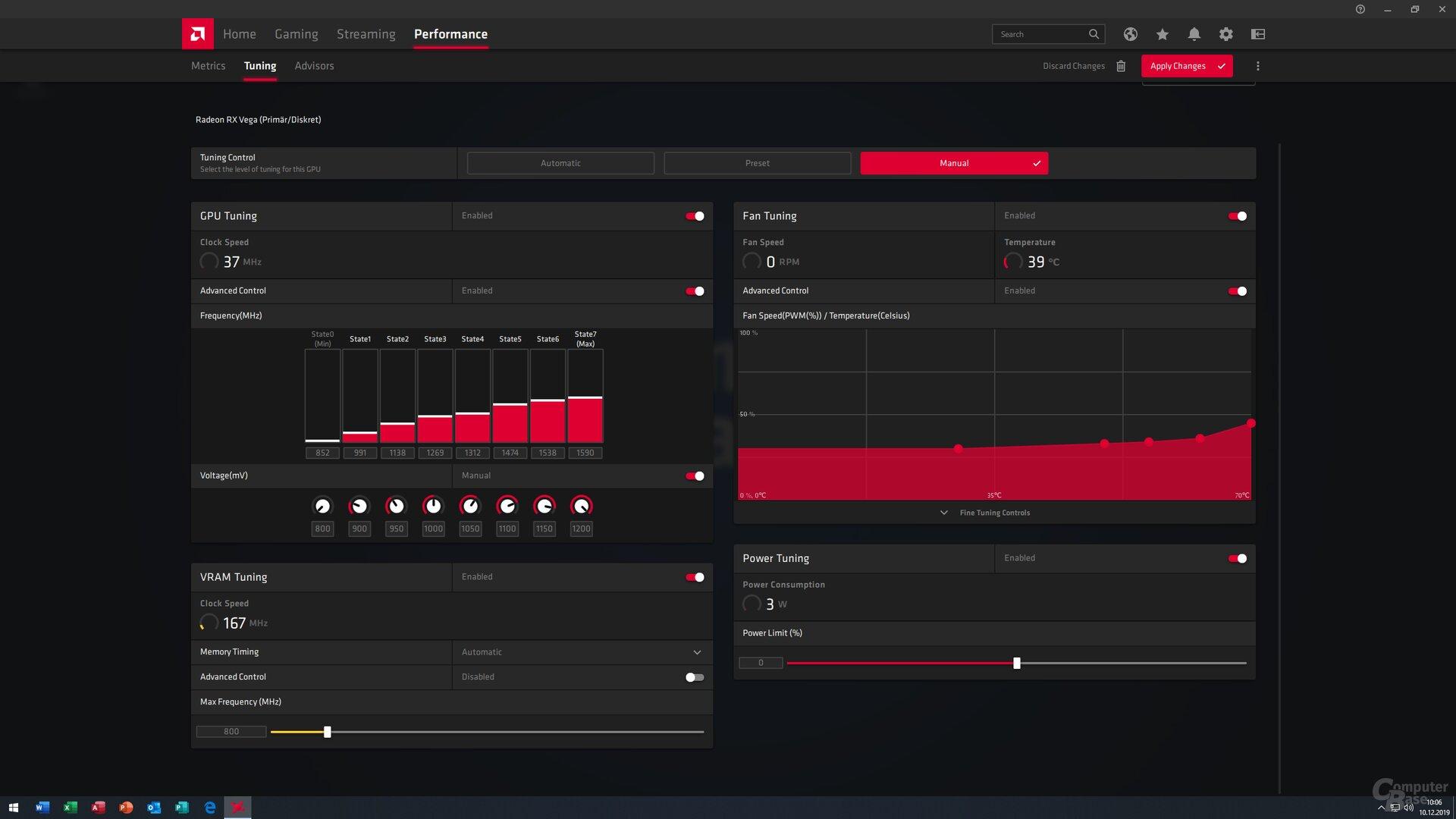 Tuning (WattMan) mit allen Features enabled