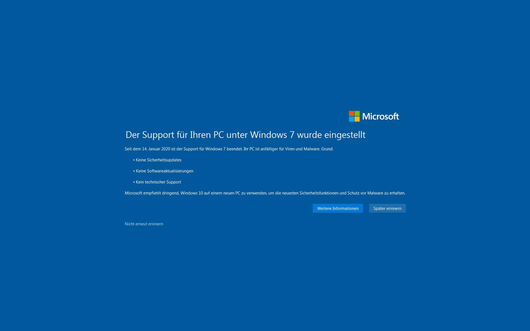 Ab dem 15. Januar 2020 warnt Windows 7 vor sich selber