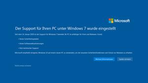 Support-Ende: Ab 15. Januar warnt Windows 7 im Vollbild vor sich selbst