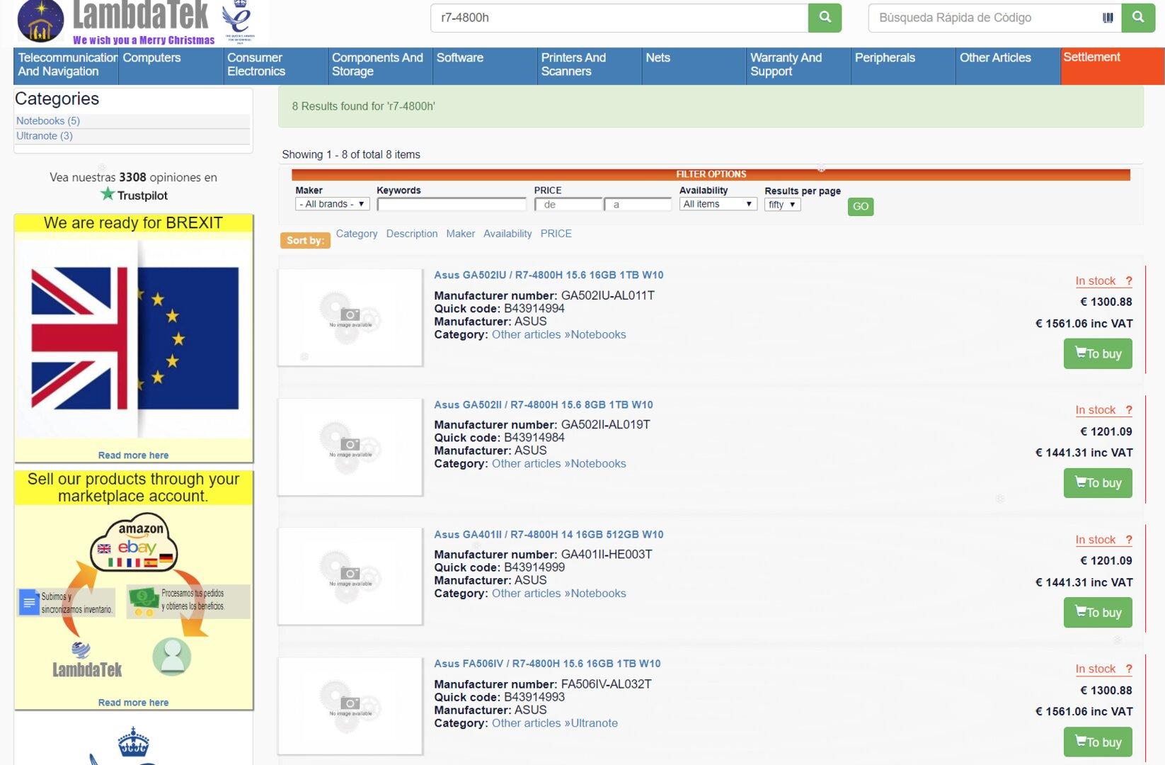 Händler listet Asus-Notebooks mit Ryzen 7 4800H(S) und Ryzen 5 4600H(S)