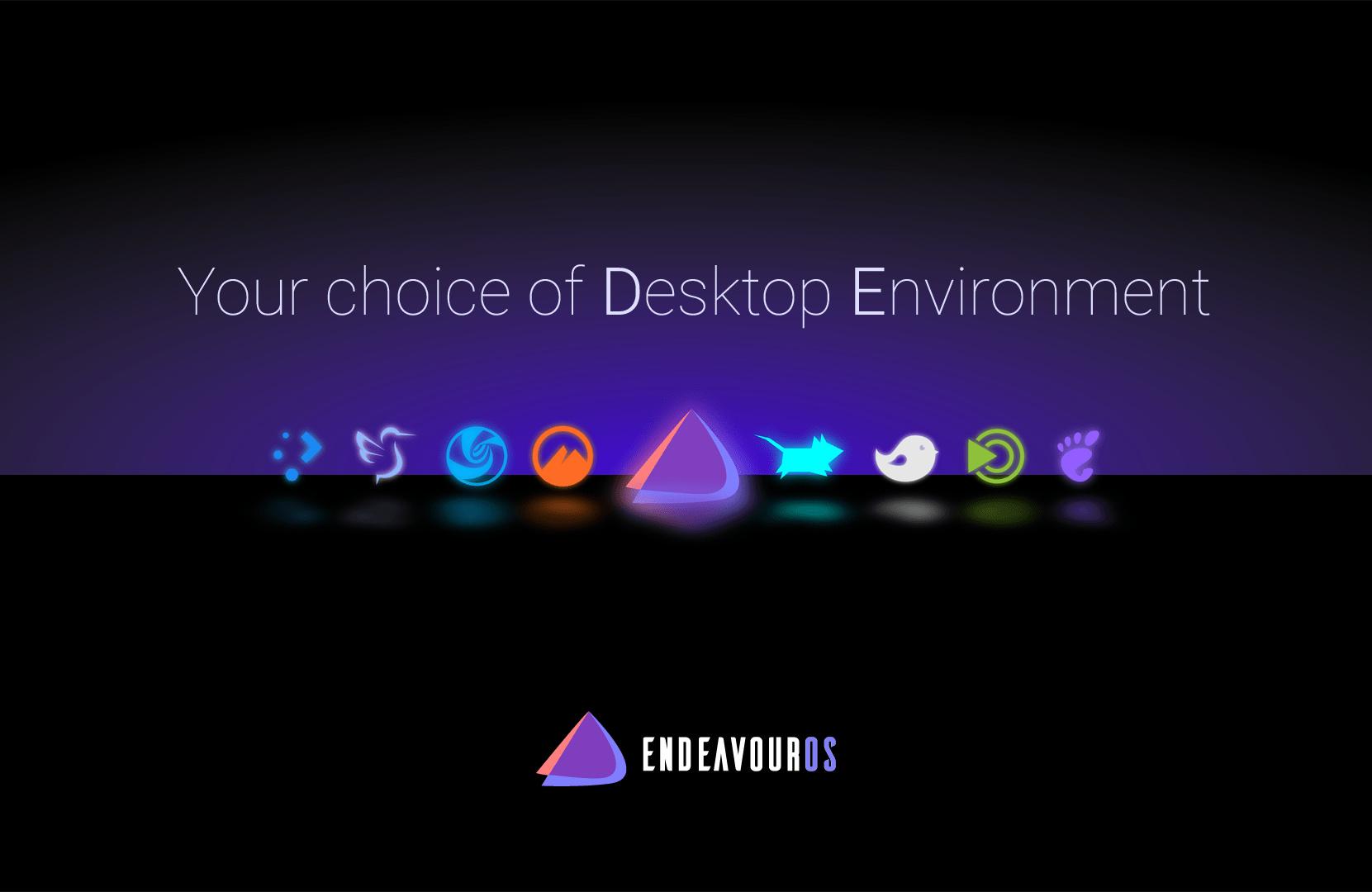 EndeavourOS bietet eine Auswahl von neuen Desktop-Umgebungen
