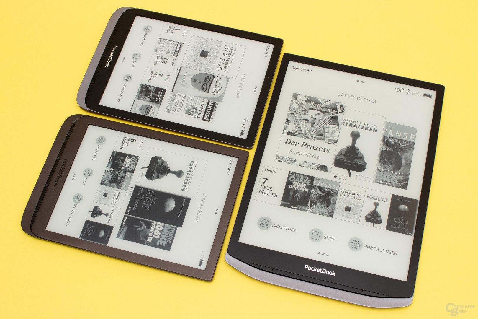 Treffen der Generationen: InkPad 3 (links unten), InkPad 3 Pro (oben links) und das neue InkPad X (rechts)