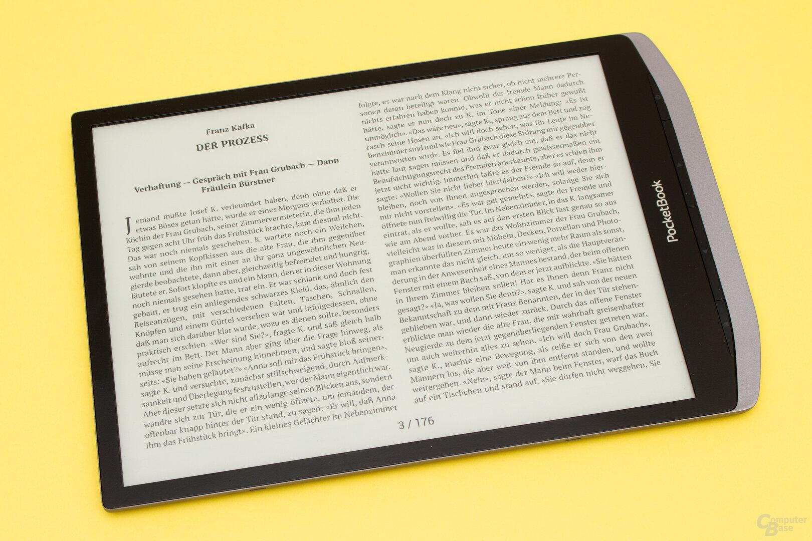 Quer gehalten bietet das InkPad X fast Taschenbuchgröße