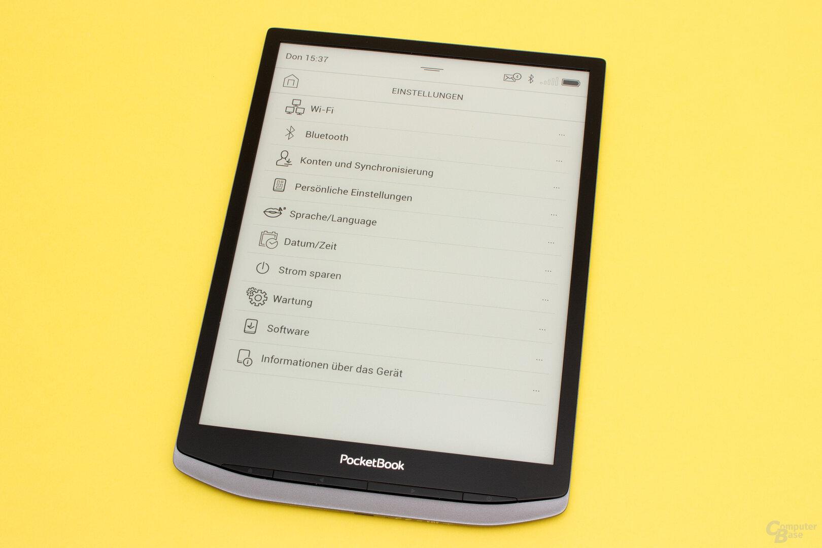 Die Einstellungen des PocketBook InkPad X