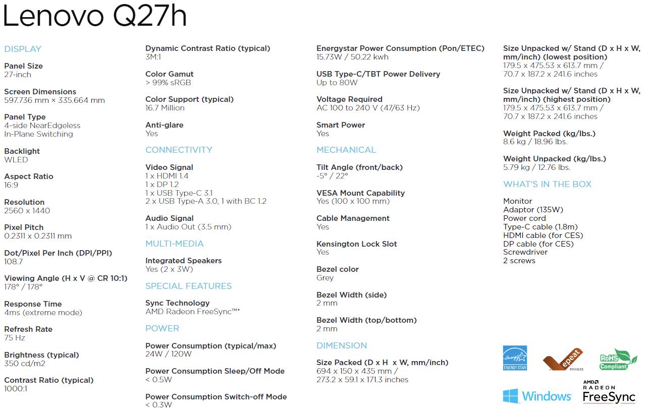 Spezifikationen: Lenovo Q27h