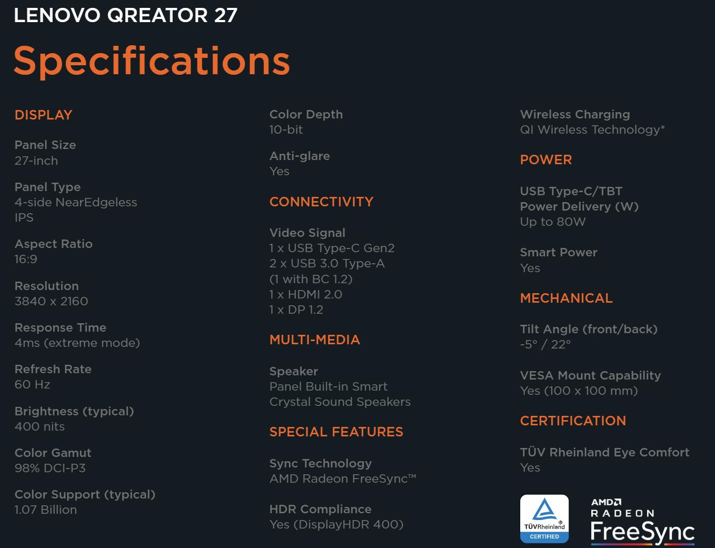Spezifikationen: Lenovo Qreator 27