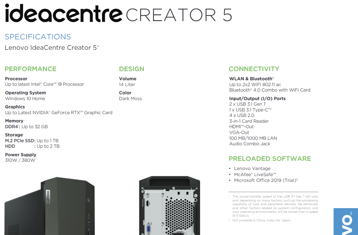 Spezifikationen: Lenovo IdeaCentre Creator 5