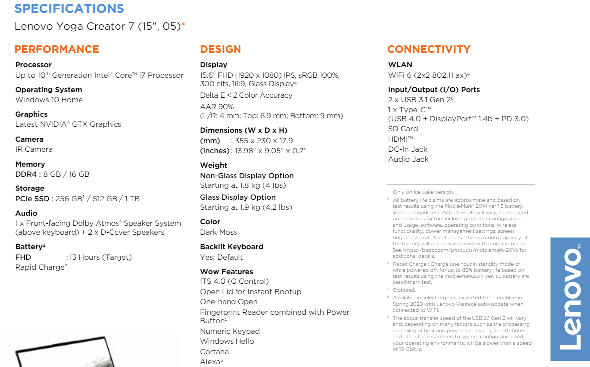 Spezifikationen: Lenovo Yoga Creator 7