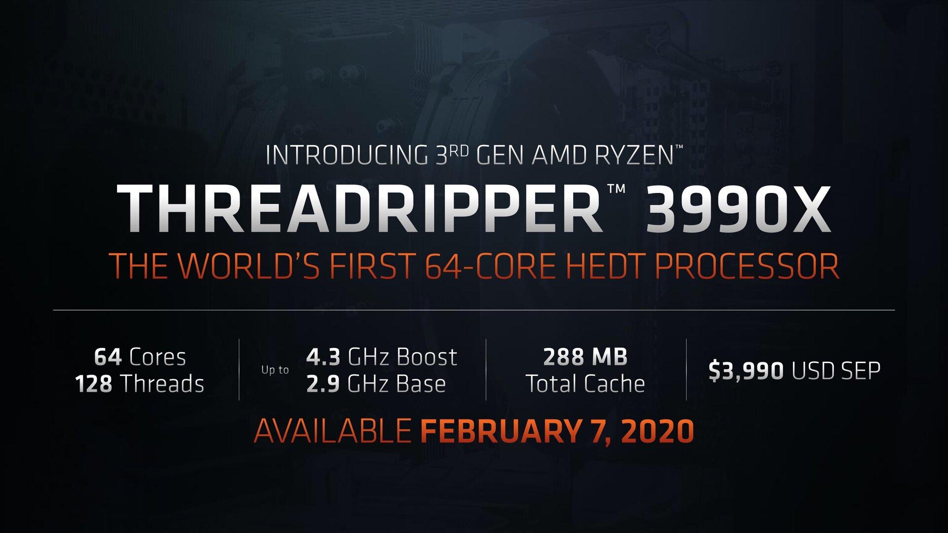 Threadripper 3990X: Ab 7. Februar für 3990 US-Dollar